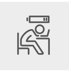 Businessman in low power thin line icon vector