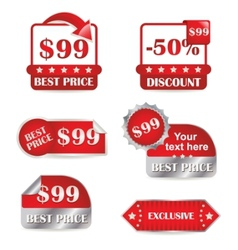 Set of red labels for sale vector