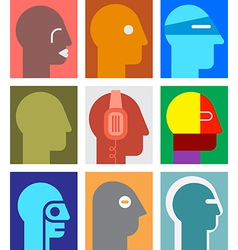 human heads 4 vector image
