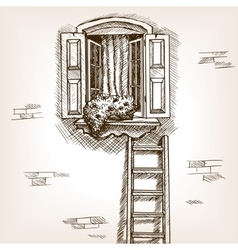 Open window and ladder hand drawn sketch vector
