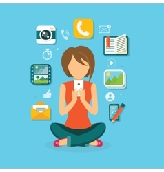 Woman User Smartphone Design Flat vector image