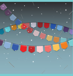 Background of colored flags with star stick and vector