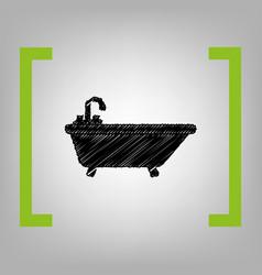 Bathtub sign black scribble vector