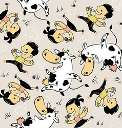 Boy girl cow milk vector