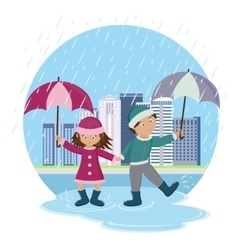 Children with umbrellas in the rain vector