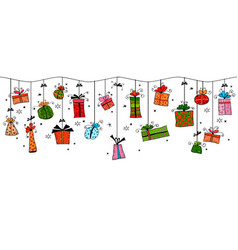 christmas greeting card with hanging gift boxes vector image