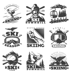 Downhill Skiing Labels Set vector image