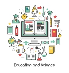Education and science line art thin icons vector