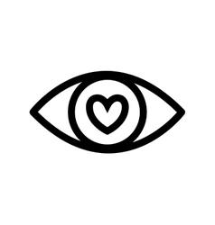 Eye heart look vision optical icon vector