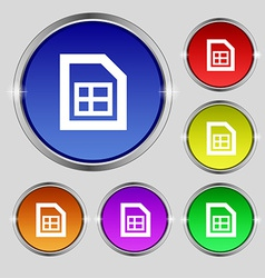 File document icon sign Round symbol on bright vector image vector image