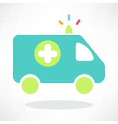 Flat icon of ambulance vector image vector image