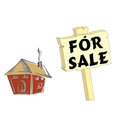 HOUSE FOR SALE WHITE vector image vector image