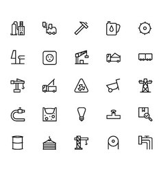 Industrial processes line icons 3 vector
