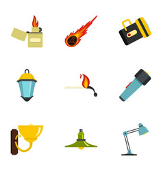 light source icon set flat style vector image vector image