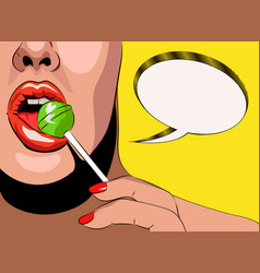 Lips and chupa chups with vector