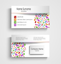 Modern white business card with colored shards vector
