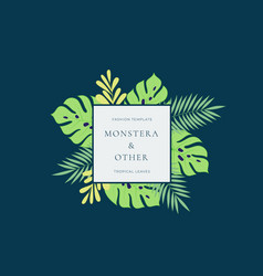 Monstera tropical leaves fashion sign or logo vector