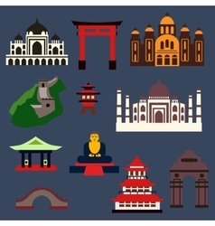 Old famous travel landmarks and buildings vector image vector image