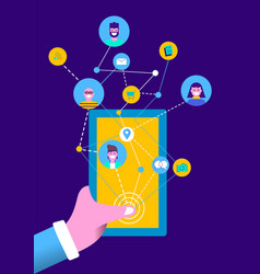People on social media online mobile phone app vector
