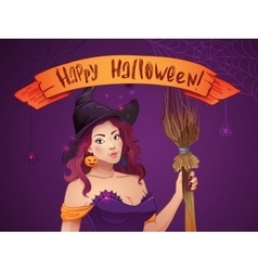 Pretty witch halloween sexy girl with broom and vector