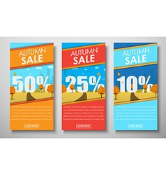 set of web banners with autumn landscape for sales vector image