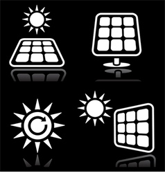 Solar panels solar energy white icons set on blac vector image