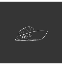 Speedboat drawn in chalk icon vector