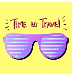 Sun glasses travel yellow vector