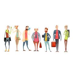 team of teachers retro cartoon collection vector image