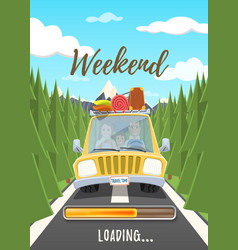 weekend loading poster vector image vector image