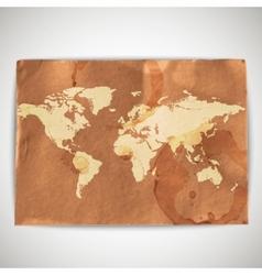 world map on cardboard grunge background vector image