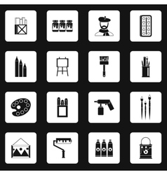 Artist studio icons set simple style vector