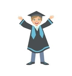 Happy boy in graduation mantle and square black vector