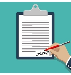 Hand signing document man writing on paper vector
