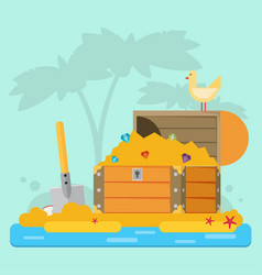 Open treasure chest and pirates stuff on a desert vector
