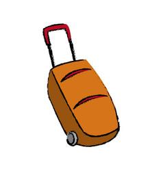 Cartoon suitcase luggage wheel handle vector