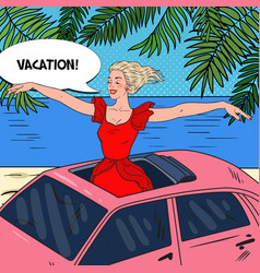 Pop art woman standing in a pink car sunroof vector