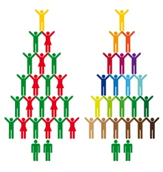 Christmas trees with people icons vector
