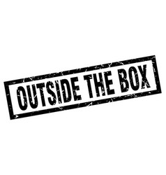 Square grunge black outside the box stamp vector