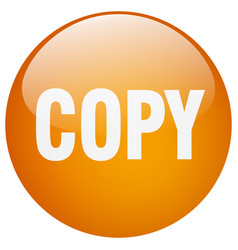 Copy orange round gel isolated push button vector