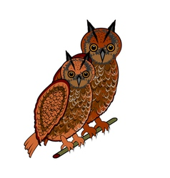 A couple of two owls on a white background vector