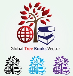 Global tree books vector