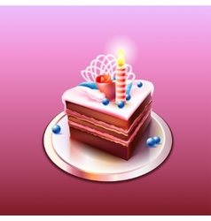 Delicious chocolate cake with candle vector