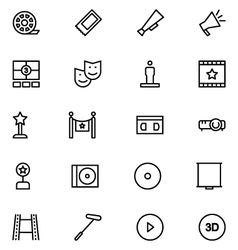 Cinema line icons 7 vector