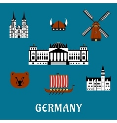 Germany travel and tourism flat icons vector