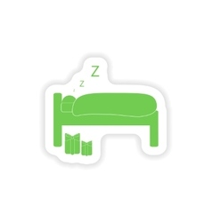 Paper sticker on white background sleeping man vector