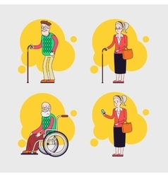 Set of elderly characters older people set vector