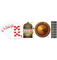 Set of poker cards and casino games vector