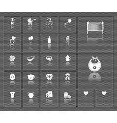 Baby web icons set with reflections vector image vector image