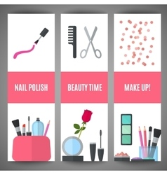 Beauty banner design cosmetic accessories for vector